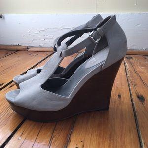 Grey suede, 5 inch Cole Haan wedges.